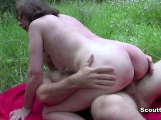 German Mom caught outdoor and fuck by young boy