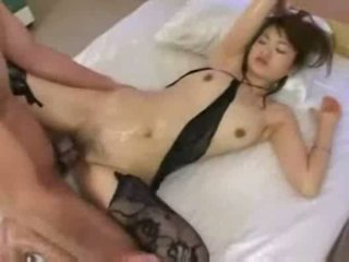 Oily asian babe gives footjob and get ...