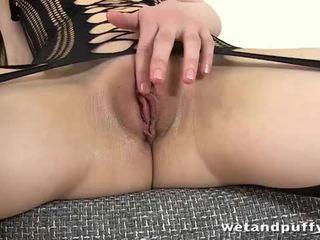 Nancy in crotch less lingerie masturbates