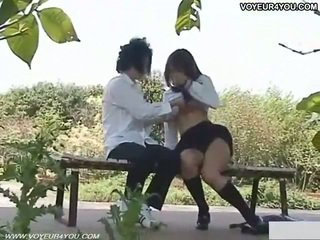 Naughty Schoolgirl Outdoor Sex Filmed