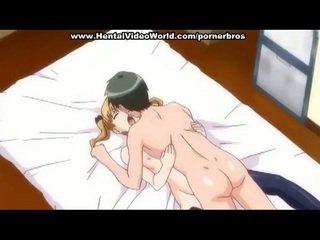 Anime teismeline tüdruk teeb lõbu fuck sisse voodi