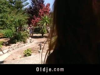 Horny Young Landlady Fucks Her Old Gardener