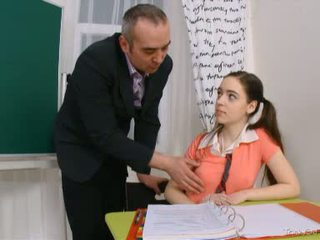 The feeling of barely legal pussy is just too good for this mature teacher to pass up
