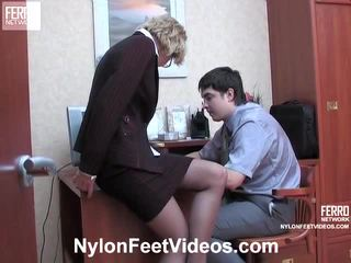 Christie và adam kewl pantyhose chân actionion