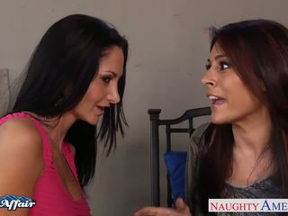 Hot neighbors Ava Addams and Raylene lick twats and fucking