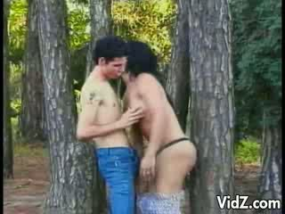 Tgirl Hooker fucked in the woods