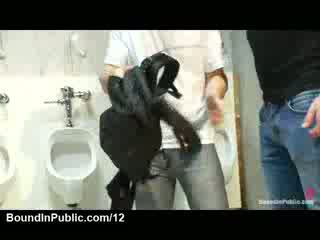 Crowd bound gay and strip off his clothes in public restroom
