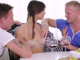 Virgin Marisa looses virginity with tw...