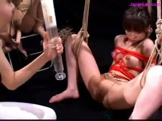 Bondaged slave getting enema to ass other sucking toy 2 mist