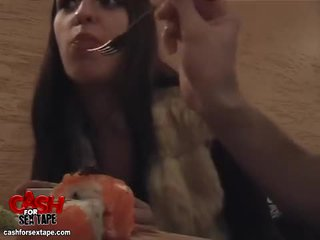 Chick sucks cock in a sushi bar restro...