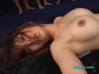 Busty Asian Girl Fucked By Many Guys In Masks Creampies On The Mattress In The Dungeon
