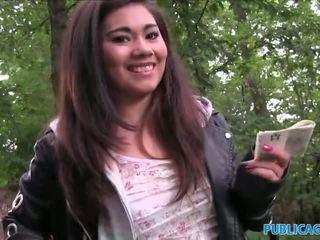 Publicagent ázsiai cutie szar által egy stranger outdoors