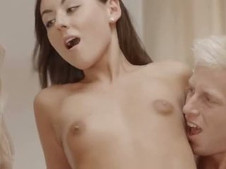 gruppe sex, trekant, blond