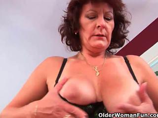 Grandma with hairy pussy sucks his pus...