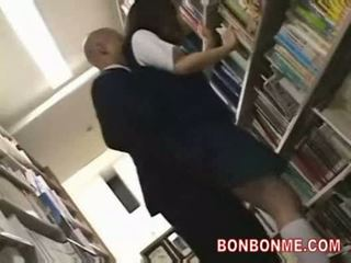 Schoolgirl fucked by library saytr and gives great blowjob
