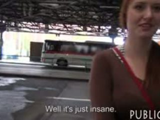 Eurobabe Flashes Her Big Tits And Fucked In The Bus Stop