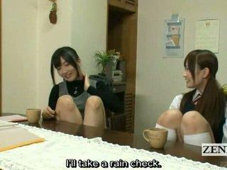 Subtitled Lesbian Japanese Teacher Bat...