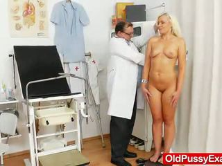 Smoking Sensuous Blonde Nymph Comes To Her Gynecologist.