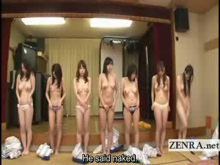 Subtitled gruppo di giapponese milfs stripping per racing gioco