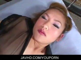 Busty asian babe Ayaka cock stroking blowjob and fucking