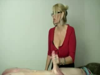 Milf gets turned on whille stroking his hard babe cock