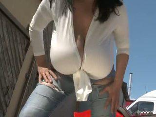 solo girl, huge tits, outdoor