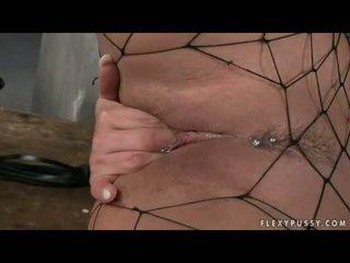 Wild Dorothy Black In Dark Fishnet Nylons Spreading Her Legs
