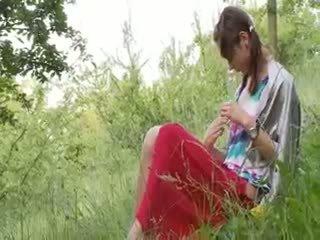 bebé, al aire libre, adolescente