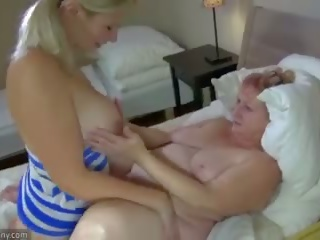 Oldnanny Granny and Teen Masturbate With Sextoy