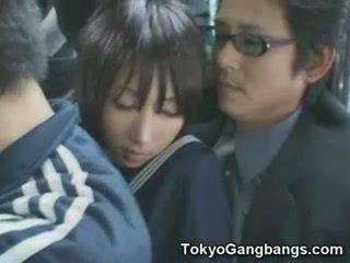 Naive studentessa in tokyo autobus!