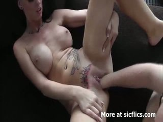 Hot brunette fist fucked in her loose tattooed cun