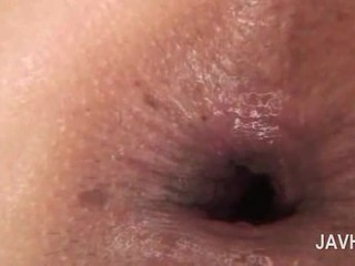 Asian anal creampie in close-up with naked horny babe