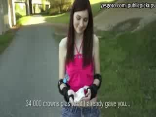 Cute rollerblades girl flashes her tits and banged for cash