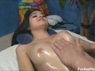 Cute skinny Zoey receiving massage