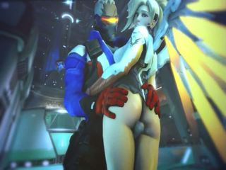 Mercy and Evil Mercy in Overwatch have sex