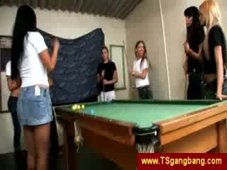 Pool game ends up with shemale gangbang