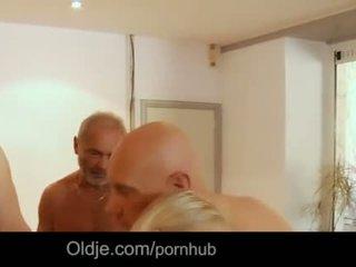 Seven grandpas gabg bangs sexy young blonde at a meeting