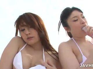 Japanese lesbians on the beach