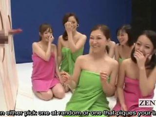 Subtitled riietes naine paljaste meestega hull jaapani peenis guessing mäng show