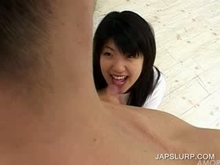 Asian College Girl sucking shaft in Lockerroom