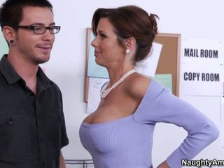 Learning from his busty boss
