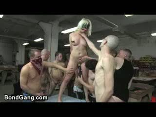 Big Boob bound Blonde fucked and vibed by orgy of guys in shop