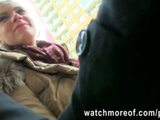 Lovely blonde sweetheart Adele picked up on a bus and gets fucked for cash