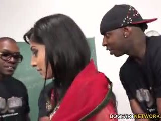 Nadia ali learns to handle a bunch of gara cocks