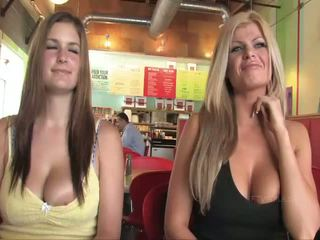 Taryn and Danielle busty babes public flashing boobs