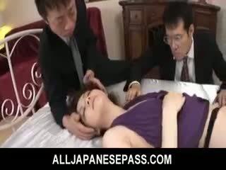 Rina koizumi kuuma aasialaiset malli sisään seksikäs sukkahousut gets perseestä