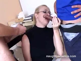 Adrianna nicole blows 2 duro meat weenies alternately