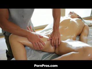 Callie Calypso gets sweet rubdown on massage table