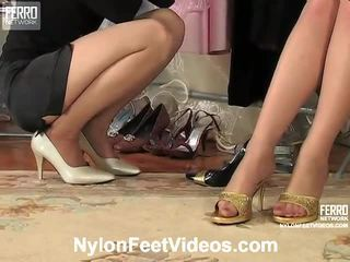 Agatha And Ninon Nasty Pantyhose Footsex