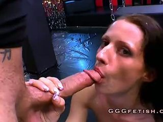 Holding on to the chains she receive big cock